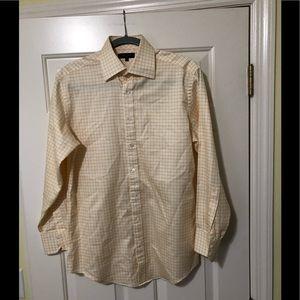 Ted Baker designer gold striped dress shirt. M
